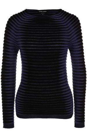 Пуловер фактурной вязки с круглым вырезом Giorgio Armani. Цвет: черный