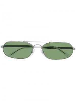 Солнцезащитные очки в узкой оправе Balenciaga Eyewear. Цвет: серебристый