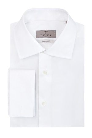 Рубашка из поплина Impeccabile с манжетами под запонки CANALI. Цвет: белый