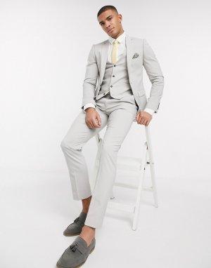 Однотонный пиджак скинни -Серый Harry Brown