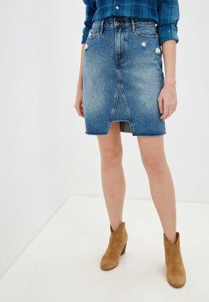 Юбка джинсовая Frame. Цвет: синий
