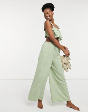 Эксклюзивные травянисто-зеленые пляжные брюки широкого кроя с завышенной талией от комплекта -Зеленый цвет Fashion Union