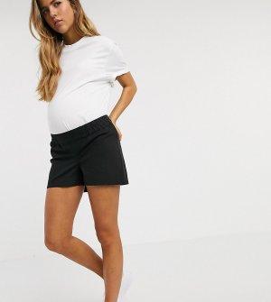 Черные шорты чиносы с посадкой под животом ASOS DESIGN Maternity-Черный Maternity