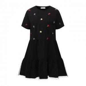 Хлопковое платье REDVALENTINO. Цвет: чёрный