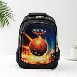 Рюкзак для мальчиков с рисунком баскетбола SHEIN. Цвет: чёрный