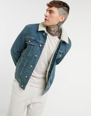 Синяя выбеленная джинсовая куртка с подкладкой из искусственного меха -Голубой ASOS DESIGN