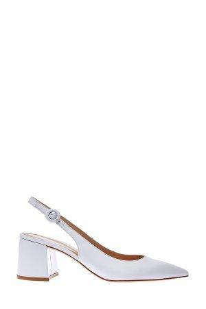 Открытые туфли Agata из матовой кожи GIANVITO ROSSI. Цвет: белый