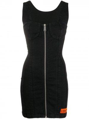 Джинсовое платье мини на молнии Heron Preston. Цвет: черный