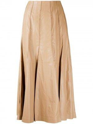 Кожаная юбка со складками Gabriela Hearst. Цвет: коричневый