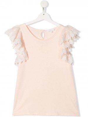Блузка с оборками Chloé Kids. Цвет: розовый