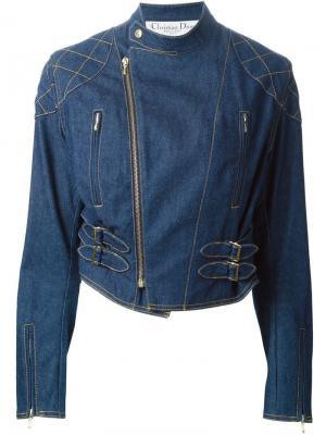 Джинсовая байкерская куртка Christian Dior Vintage. Цвет: синий