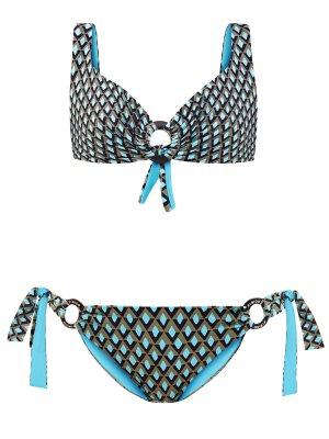 Плавки с принтом и завязками на брендированных кольцах FISICO. Цвет: мульти