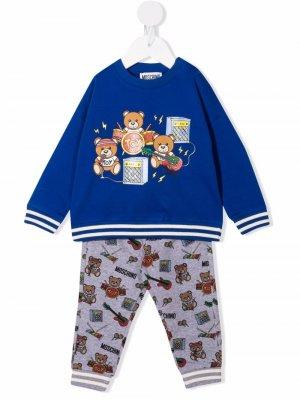 Спортивный костюм с принтом Moschino Kids. Цвет: синий