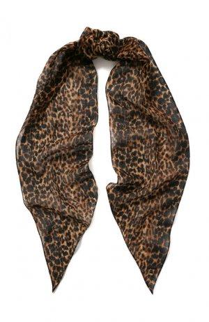 Шерстяной шарф-бандо Saint Laurent. Цвет: коричневый