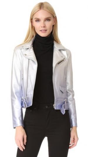 Кожаная куртка Calum IRO. Цвет: серебристый/лавандовый