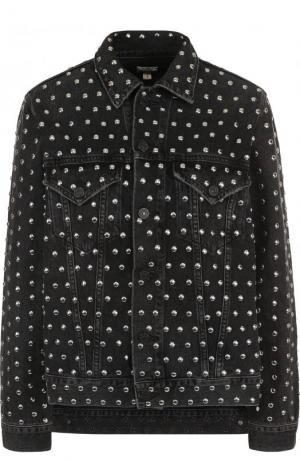 Джинсовая куртка с потертостями и металлическими заклепками Citizens Of Humanity. Цвет: черный