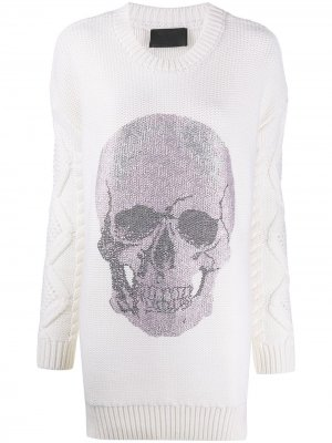 Вязаное платье мини с декором Skull Philipp Plein. Цвет: белый