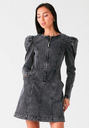 Платье джинсовое Love Republic. Цвет: серый