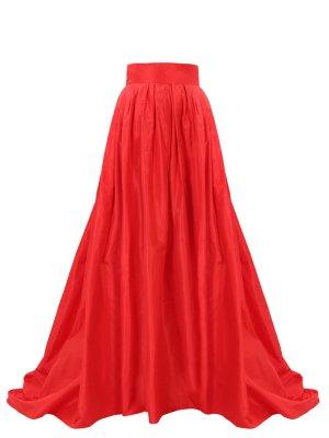 Юбка шелковая в пол CAROLINA HERRERA. Цвет: красный