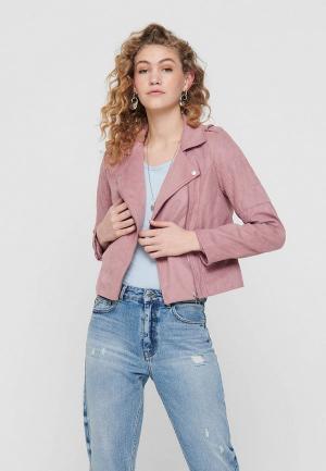 Куртка кожаная Jacqueline de Yong. Цвет: фиолетовый