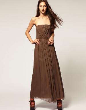 Платье макси Kookai. Цвет: коричневый