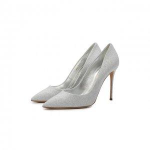 Текстильные туфли Casadei. Цвет: серебряный