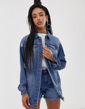 Удлиненная джинсовая куртка -Синий Noisy May