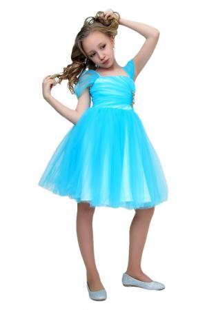 Платье с брошью Ladetto. Цвет: голубой