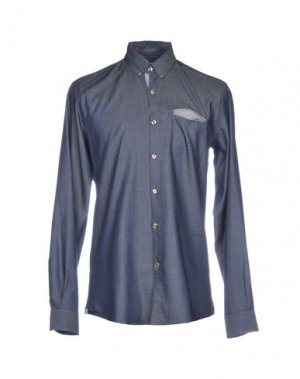 Джинсовая рубашка CR7 CRISTIANO RONALDO. Цвет: синий
