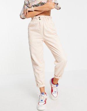 Розовые брюки галифе в стиле casual с присборенной талией -Розовый цвет Topshop