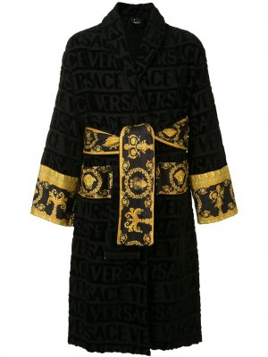 Халат с узором Barocco Versace. Цвет: черный