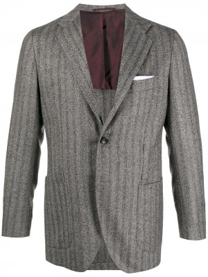 Пиджак с узором в елочку Kiton. Цвет: серый