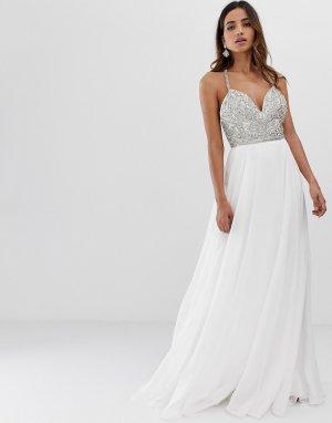 Платье макси с декоративной отделкой -Белый Jovani