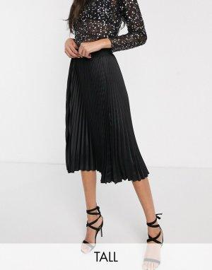 Черная плиссированная юбка миди -Черный Outrageous Fortune Tall