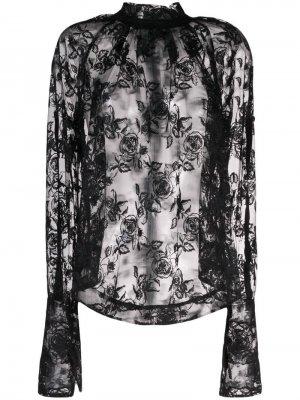 Блузка из цветочного кружева Ann Demeulemeester. Цвет: черный