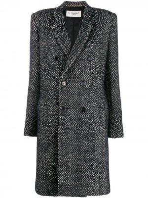 Двубортное пальто с узором в елочку Saint Laurent. Цвет: черный