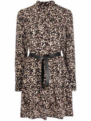 Шелковое платье с леопардовым принтом LIU JO. Цвет: черный