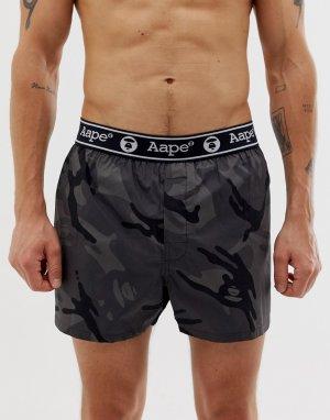 Черные шорты с камуфляжным принтом AAPE By A Bathing Ape. Цвет: черный