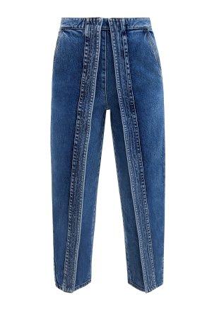Укороченные джинсы mom's на высокой посадке из денима STELLA McCARTNEY. Цвет: синий
