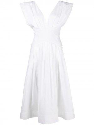 Расклешенное платье миди без рукавов Philosophy Di Lorenzo Serafini. Цвет: белый