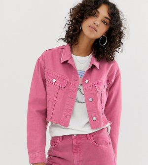 Выбеленная розовая укороченная джинсовая куртка с необработанным краем inspired-Розовый Reclaimed Vintage