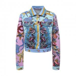 Джинсовая куртка Versace. Цвет: разноцветный