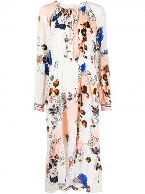 Платье миди с цветочным принтом Lala Berlin. Цвет: белый