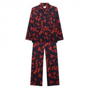 Хлопковая пижама Derek Rose. Цвет: красный