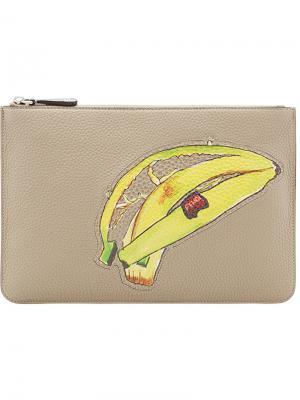 Клатч Banana на молнии Fendi. Цвет: телесный