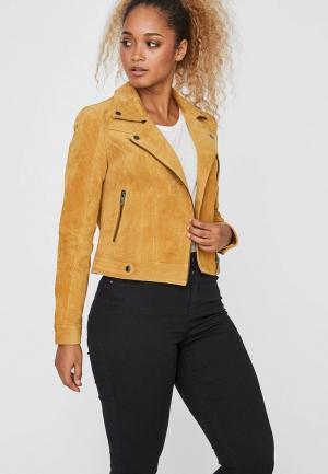 Куртка кожаная Vero Moda. Цвет: желтый