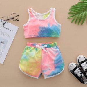 Детский Майка с принтом тай-дай контрастной отделкой и шорты SHEIN. Цвет: многоцветный