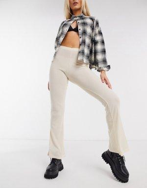 Расклешенные брюки в рубчик пастельного цвета -Желтый Daisy Street