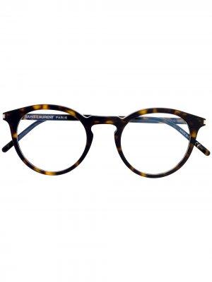 Очки SL347 в круглой оправе Saint Laurent Eyewear. Цвет: коричневый