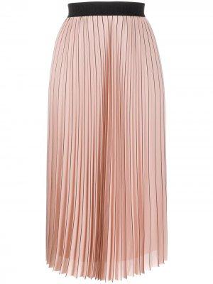Плиссированная юбка в тонкую полоску Karl Lagerfeld. Цвет: розовый